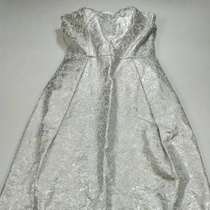 NWT LORD AND TAYLOR Silver Metallic Evening Dress
